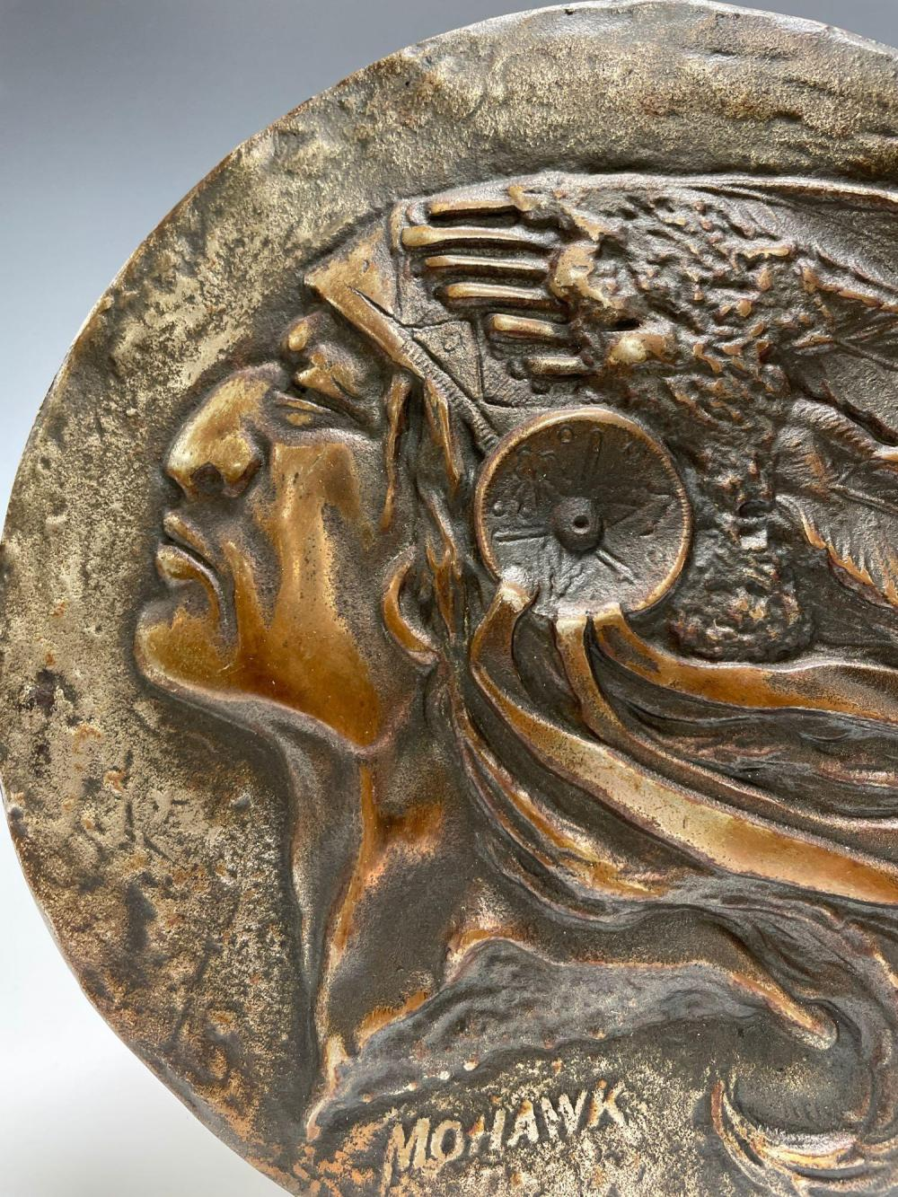 Bronze Indian Chief Wall Plaque Signed
