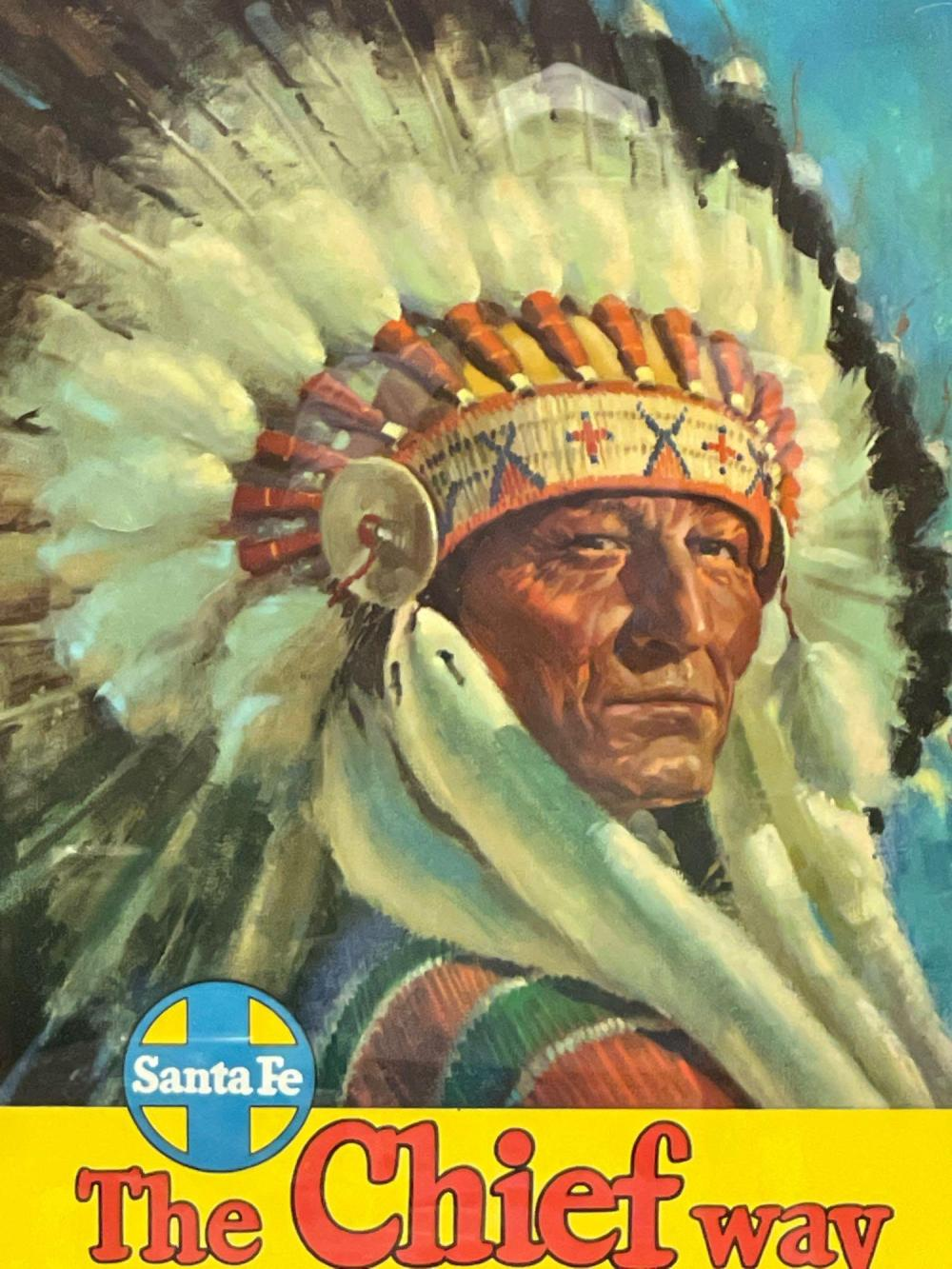 """Sante Fe Railroad """"The Chief Way"""" Framed Poster"""