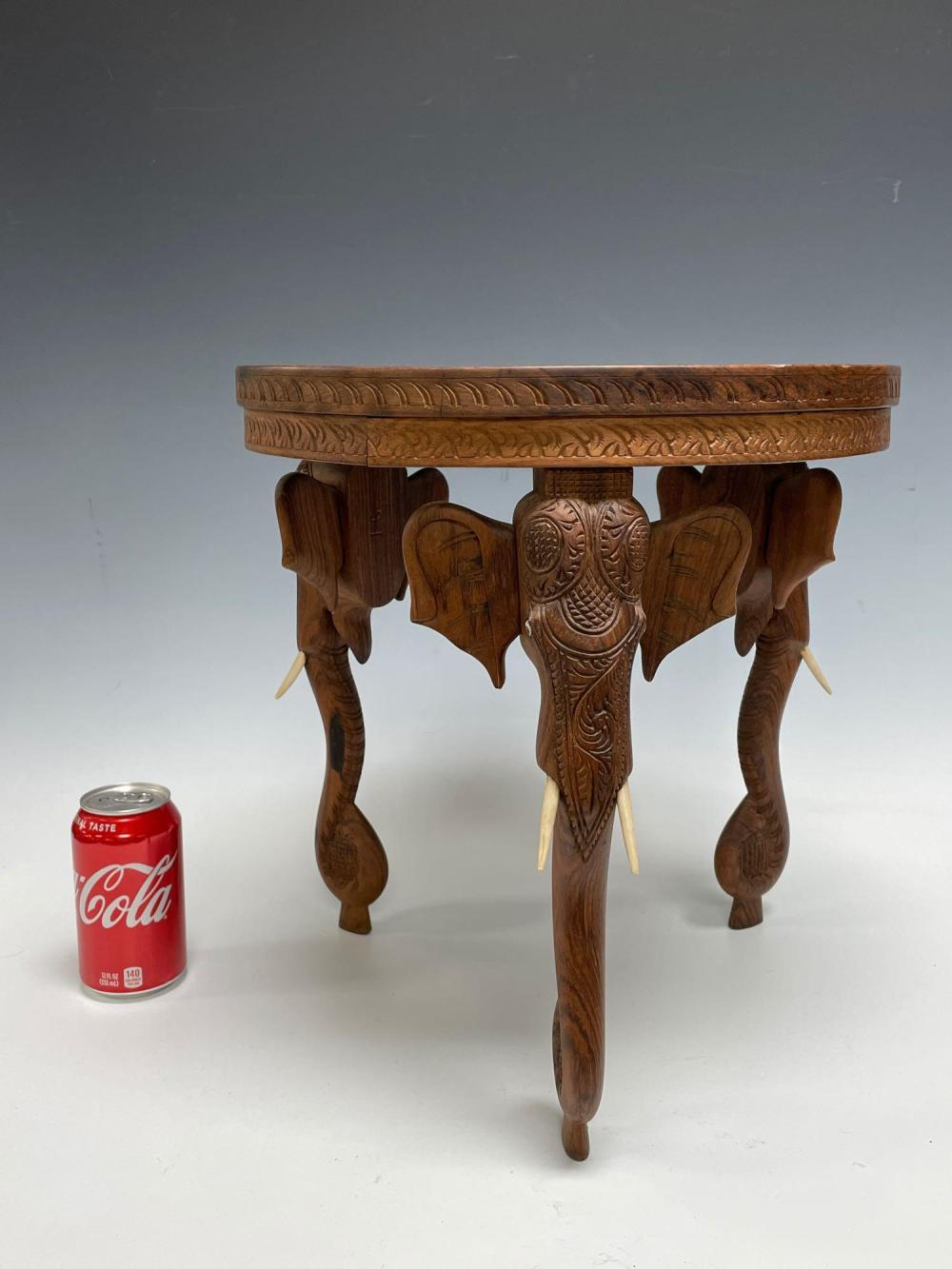 Ornate Anglo Indian Carved Wood Elephant Leg Pedestal / Stand