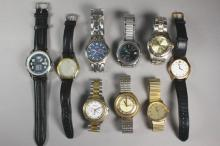 Collection of Nine Men's Wrist Watches