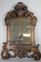 Mid 19th.c. Walnut Carved Italian Mirror