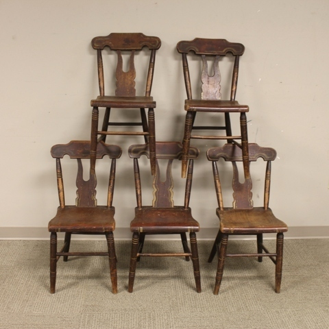 Set of Five 19th Century Painted Chairs