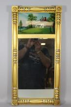 Reverse Painted Glass Gilt Gesso Wall Mirror