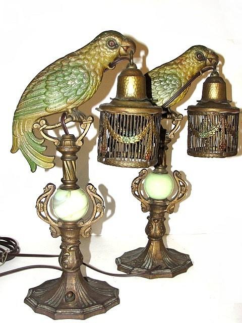 Pair Of Art Deco Parrot Bird Lamps