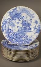 12 Royal Crown Derby Flow Blue Transferware Plates