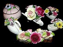 Various Porcelain Dresser Flower Pieces