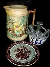 Majolica Pitcher, Cameo Plate And Bud Vase