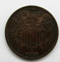 Lot 2: 1868 TWO CENT PIECE