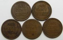 Lot 10: 5 LINCOLN WHEAT CENTS BETTER DATES