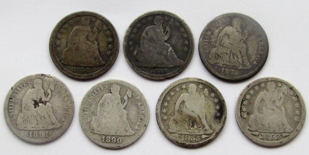 7-SEATED DIMES. MIXED DATES