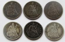 Lot 19: 6-SEATED DIMES: 1872, 1885, 1873, 1875-S,