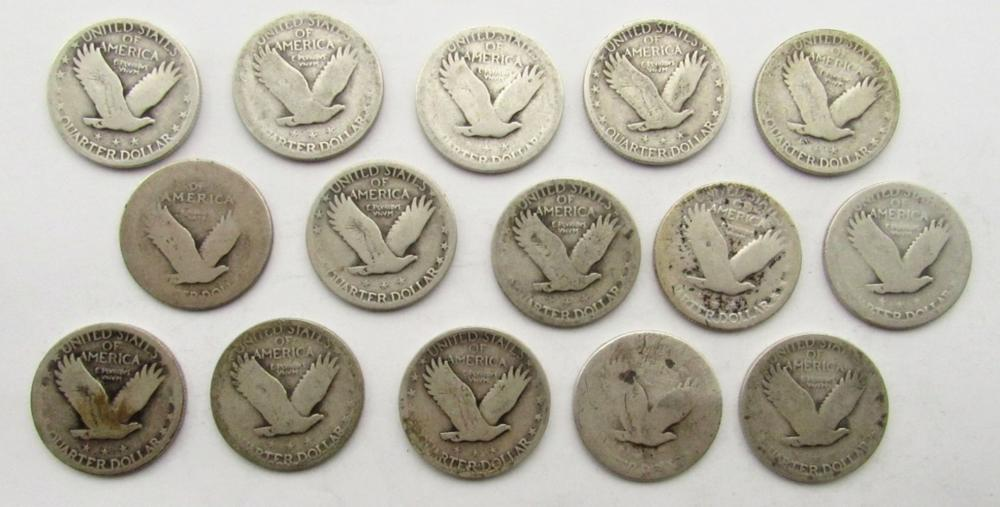 Lot 25: 15 STANDING LIBERTY QUARTERS