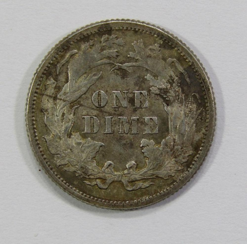 Lot 13: 1877 SEATED DIME- F/ VF-