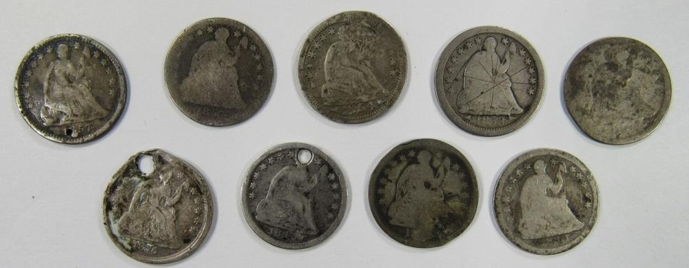 Lot 15: 9- LESSER GRADE SEATED HALF DIMES