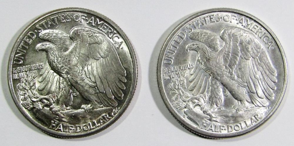 Lot 37: 1941 & 1941-D WALKING LIBERTY HALF DOLLARS
