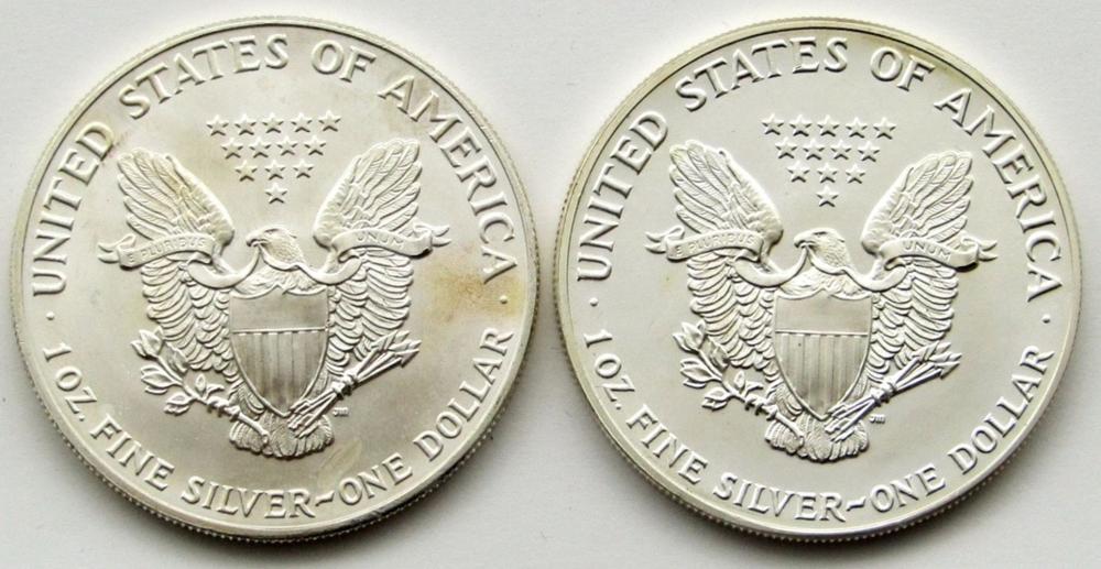 Lot 50: 1987 & 1991 AMERICAN SILVER EAGLES