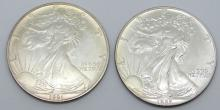 Lot 48: 1987 & 1991 AMERICAN SILVER EAGLES