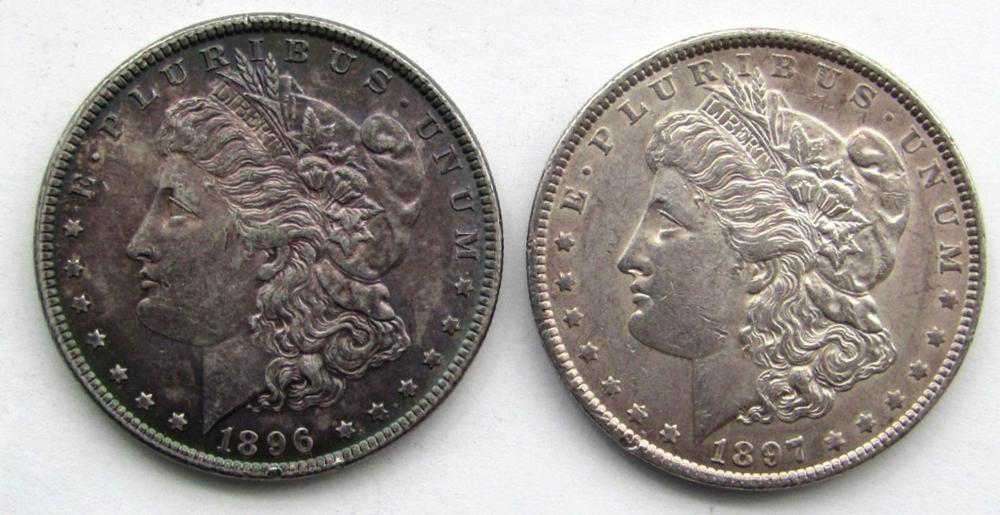 Lot 54: 2 - AU+ MORGAN DOLLARS: 1896 RAINBOW & 1897