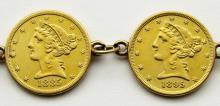Lot 61: 5 - $5 GOLD COIN BRACELET; 1881, 1885-S, 1895,