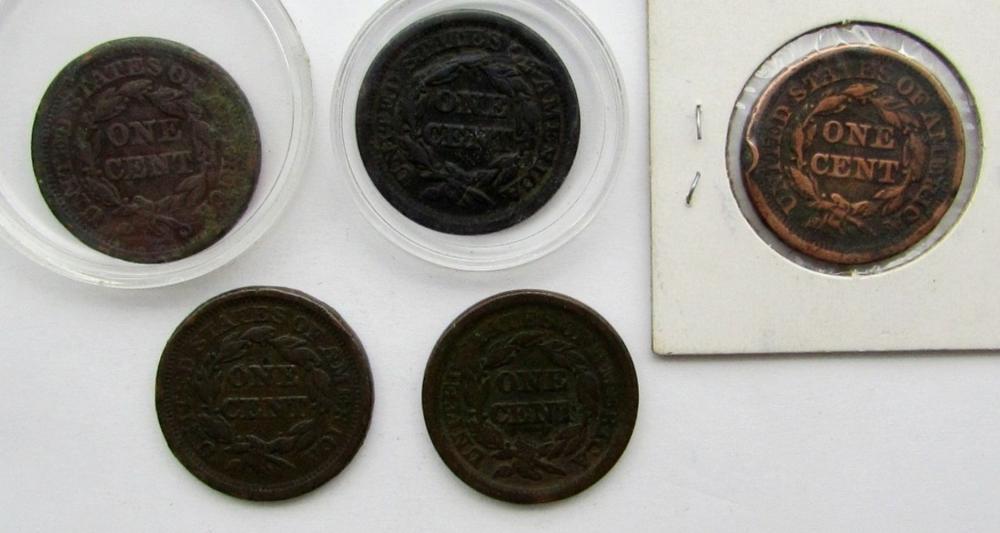 Lot 77: 5- LARGE CENTS- 1848, 1849, 1850, 1851, 1853