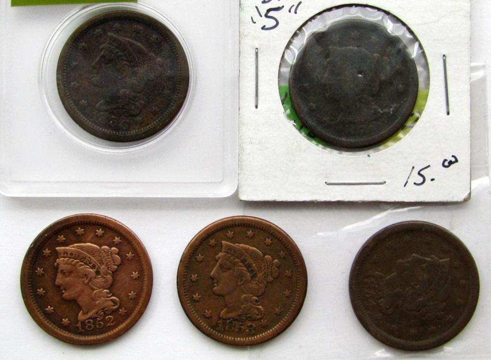5- LARGE CENTS- 1851, 1852, 1853, 1854, 1856