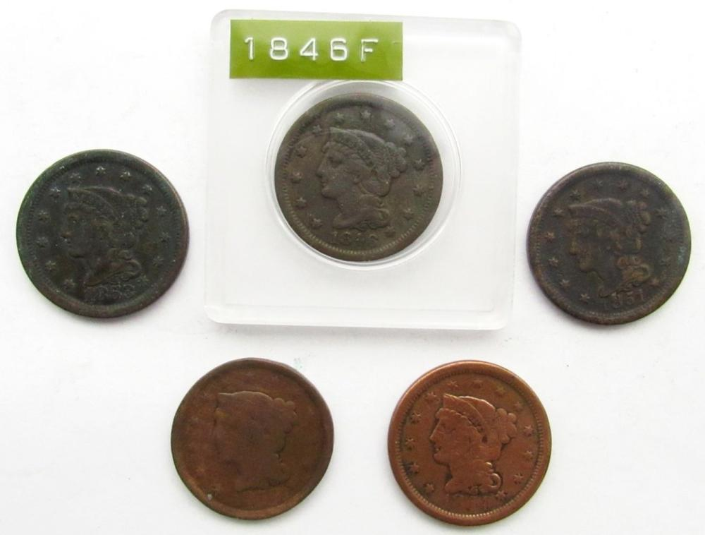 5- LARGE CENTS- 1846, 1851, 1852, 1853, 1854