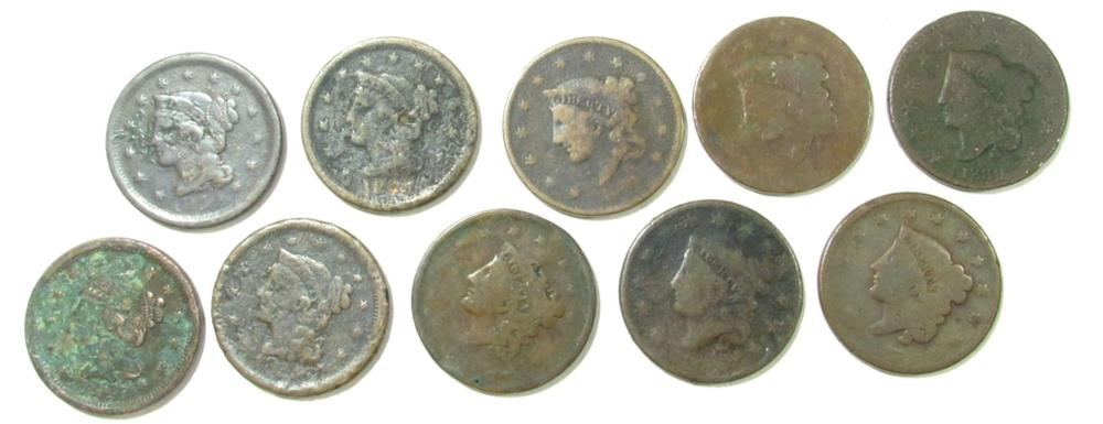Lot 75: 10- Large Cents; Mixed Dates, CIRC'S