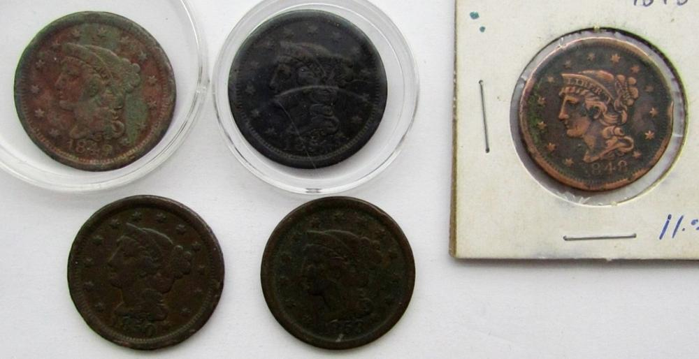 5- LARGE CENTS- 1848, 1849, 1850, 1851, 1853