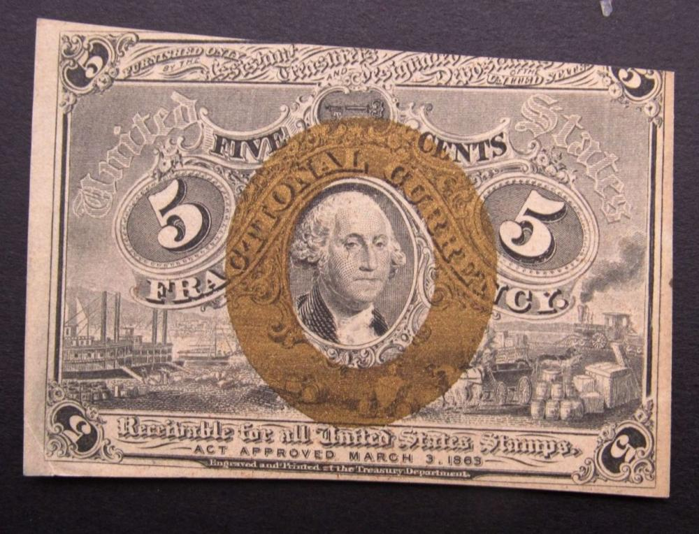 Lot 68: 1863 5c FRACTIONAL NOTE