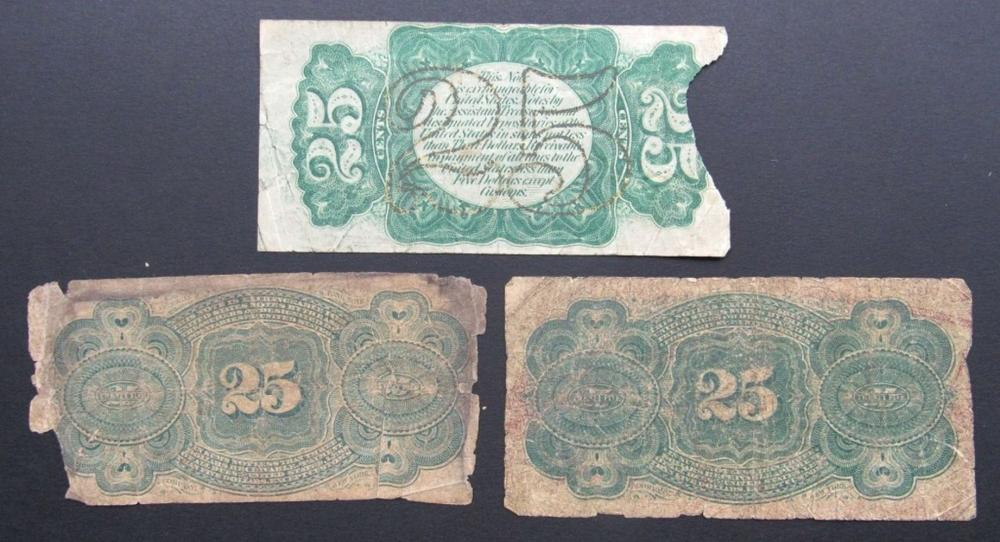 Lot 66: 3-1863 25c FRACTIONAL CURRENCY NOTES