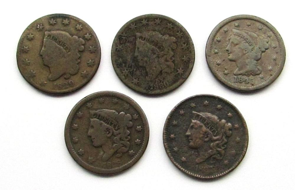 Lot 78: 5-LARGE CENTS: 1829, '30, '37, '38, & '45