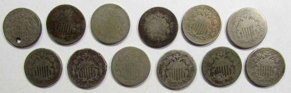 Lot 81: 12-SHIELD NICKELS LESSER GRADE