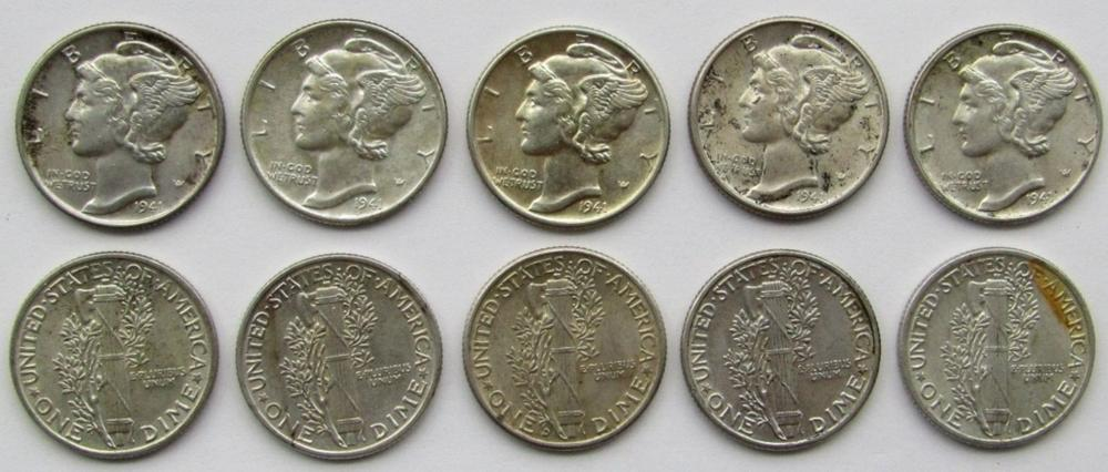 Lot 82: 10 - 1941 MERCURY DIMES AU/BU