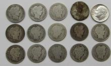 Lot 89: BARBER DIME LOT of 15 COINS