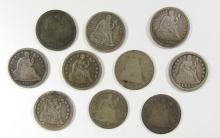 Lot 90: 10 - SEATED DIMES , MIXED DATES & GRADES