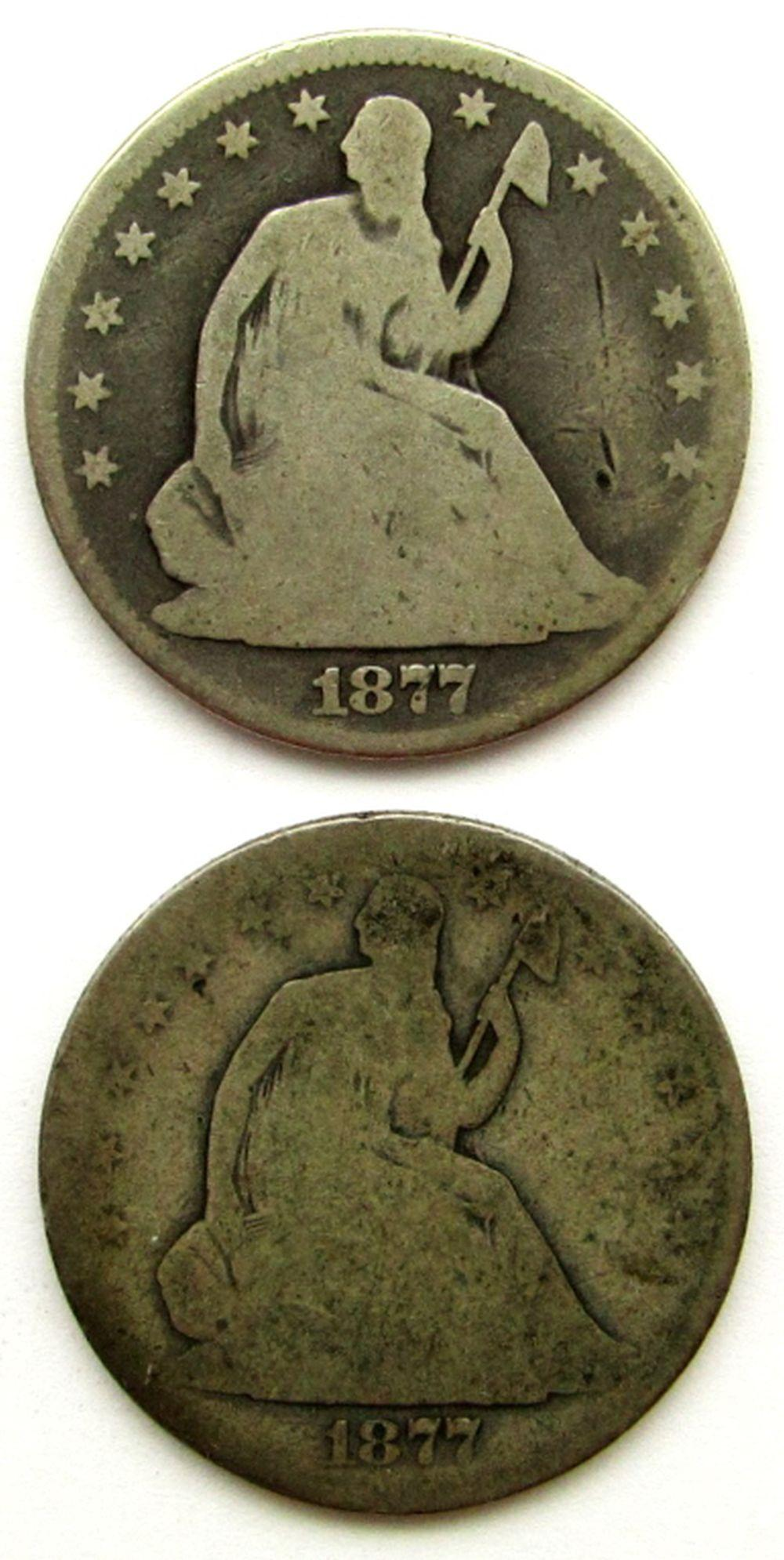 Lot 103: 2-SEATED HALF DOLLARS; 1877, '77-S