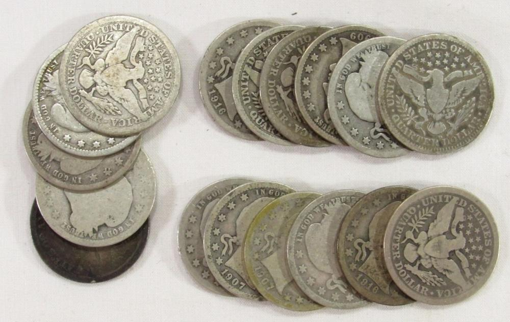 Lot 97: BARBER QUARTER LOT OF 17 COINS