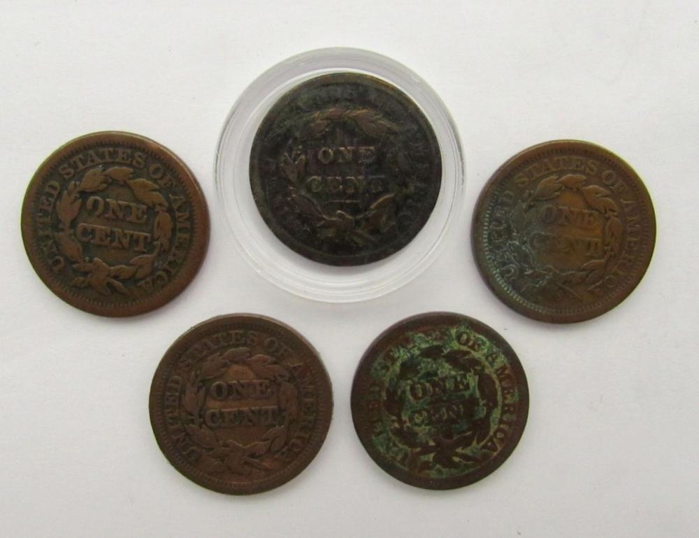 Lot 115: 5- LARGE CENTS- 1838, 1848, 1848, 1851, 1854