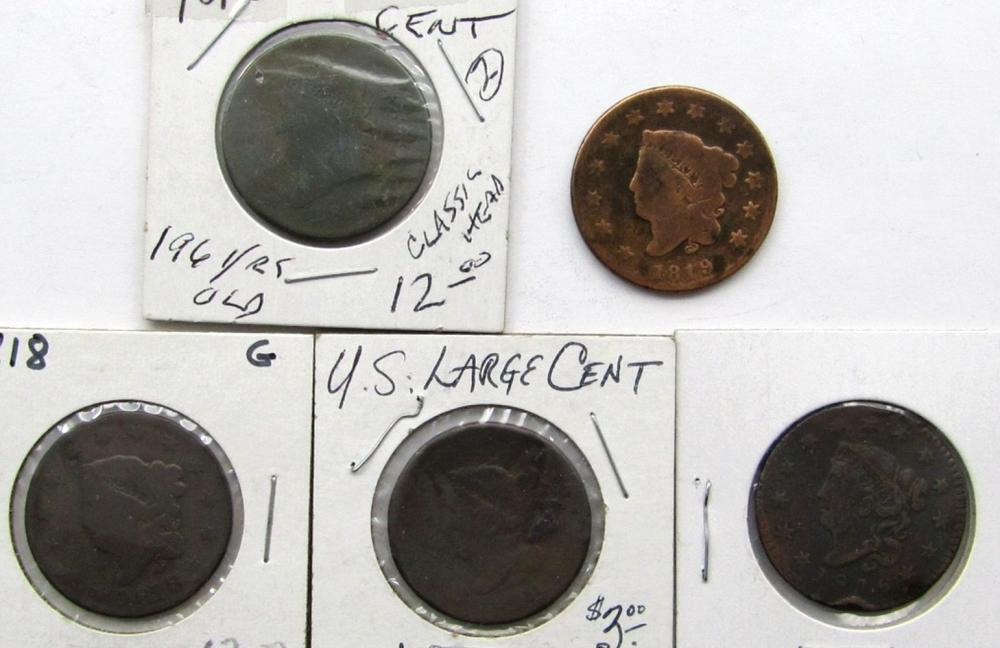 5- LARGE CENTS- 1810, 1816, 1818, 1818, 1819