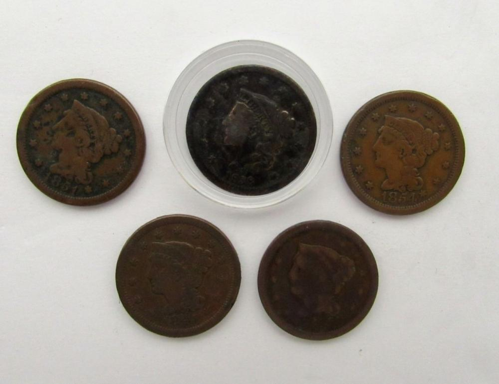 5- LARGE CENTS- 1838, 1848, 1848, 1851, 1854
