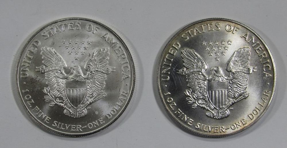 Lot 110: 2000 & 2001 AMERICAN SILVER EAGLES