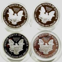 Lot 111: 4- PROOF AMERICAN SILVER EAGLES- 1986, 1987, 2004,