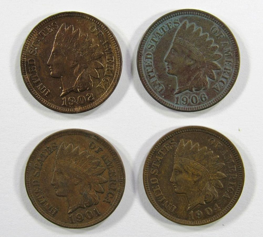 4- XF INDIAN CENTS- 1901, 1902, 1904, 1906