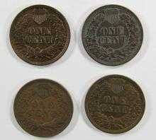 Lot 119: 4- XF INDIAN CENTS- 1901, 1902, 1904, 1906