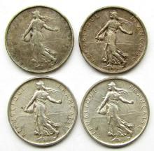 Lot 133: 4 - SILVER 5 FRANCS; 3-1960, 1963