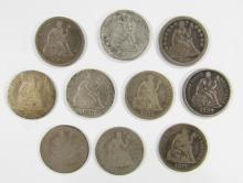 Lot 123: 10 - SEATED DIMES , MIXED DATES & GRADES