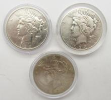Lot 139: 3 - CIRC OR BETTER SILVER DOLLARS;