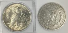 Lot 138: 1922 PEACE & 1880 MORGAN SILVER DOLLARS