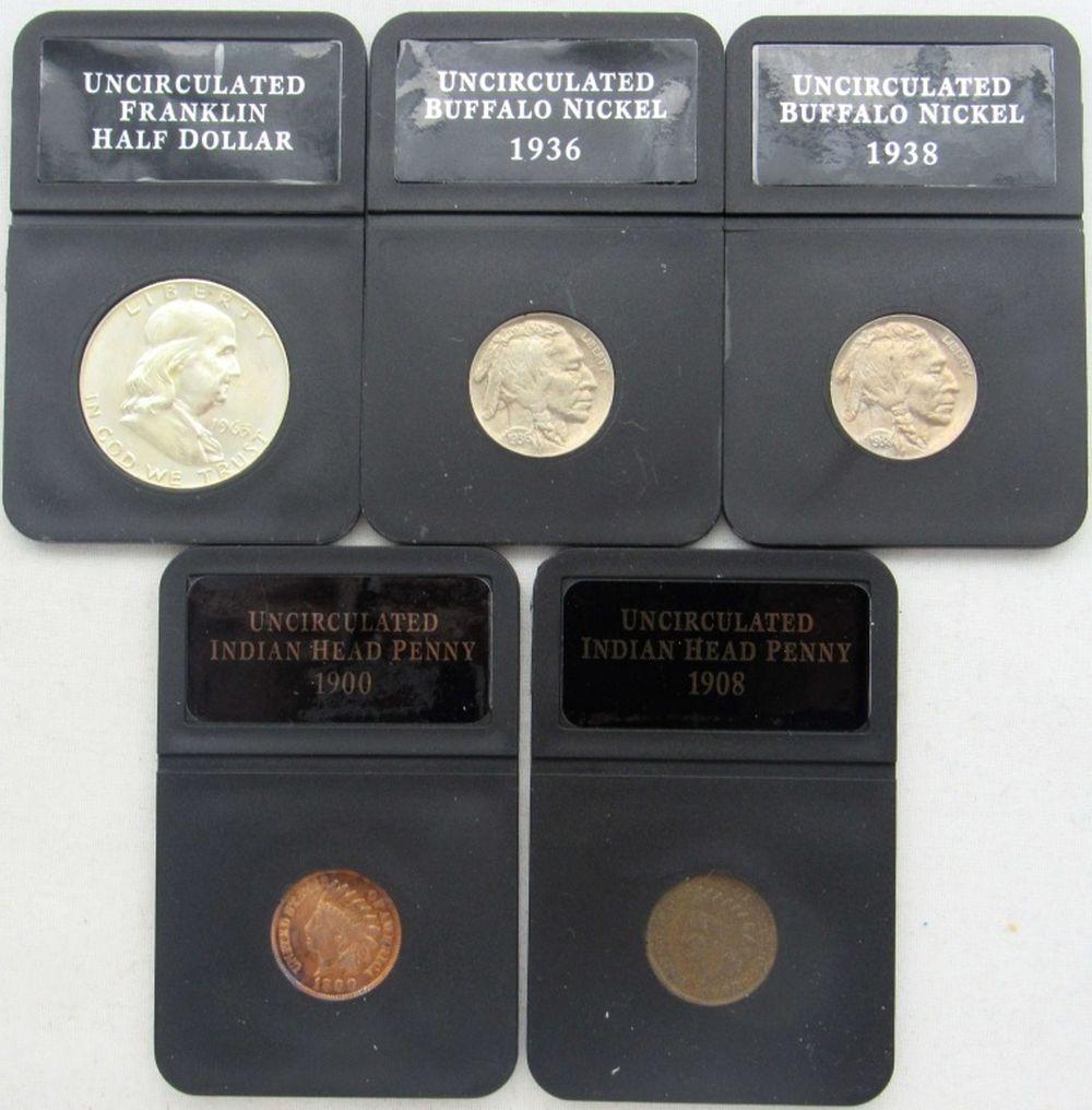 Lot 155: 5 COIN LOT: 1963-D FRANKLIN 50c UNC;
