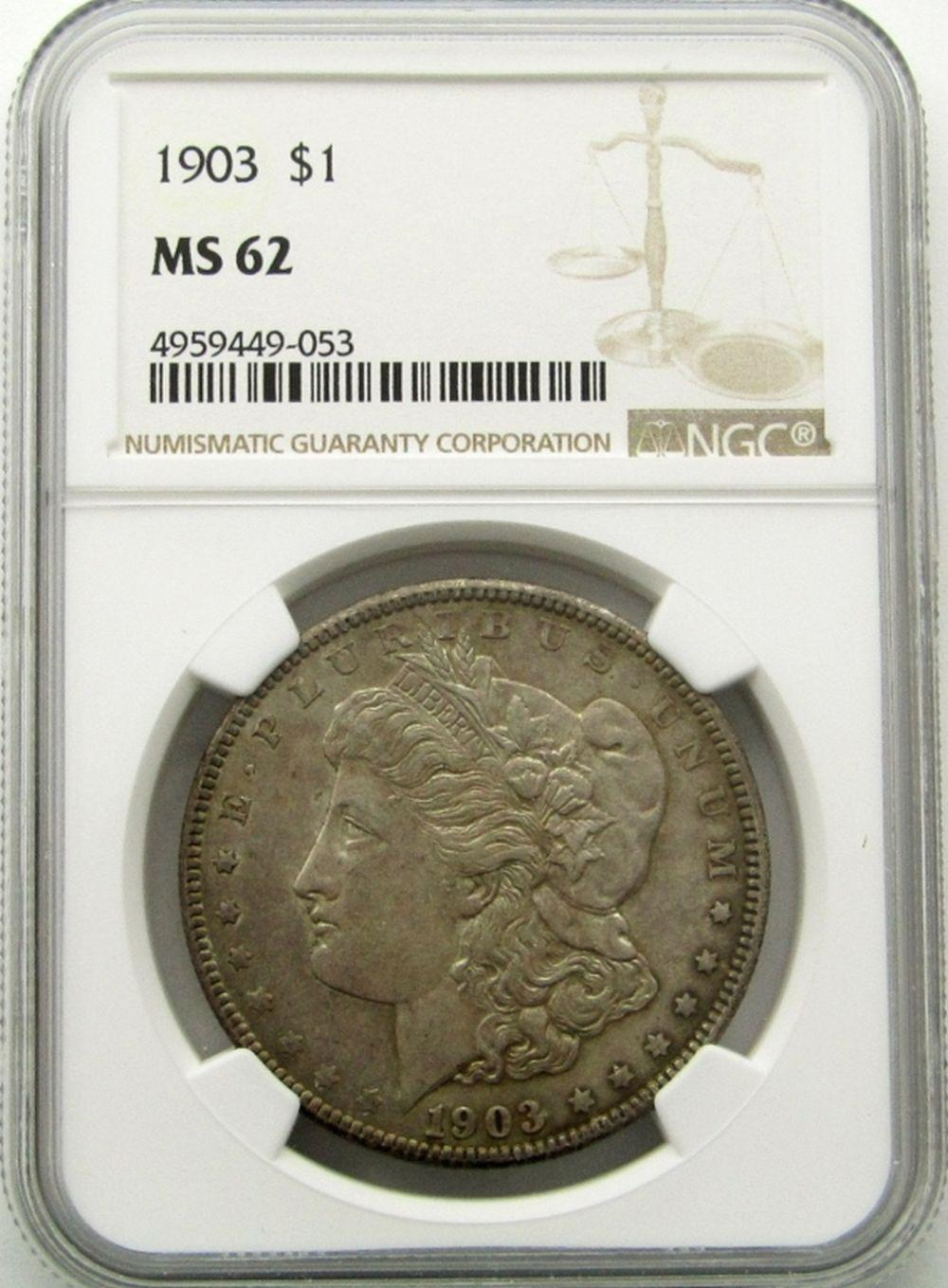 Lot 170: 1903-P Morgan Silver Dollar $ NGC MS 62